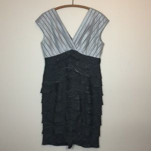 ADRIANNA PAPELL Silver & Charcoal Metallic Tiered